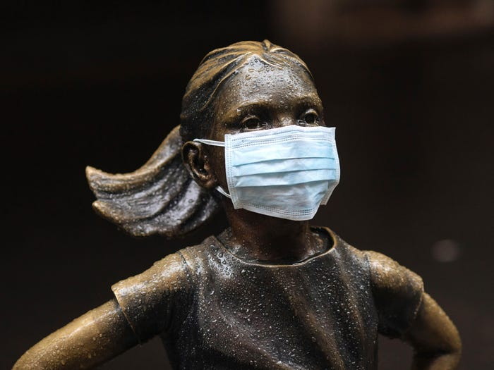 Fearless girl with face mask